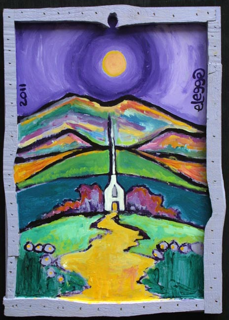 """Church in the Valley""  by Eric Legge  acrylic on found wood in artist's handmade frame 15.25"" x 11"" x 1""  $275   #10657"