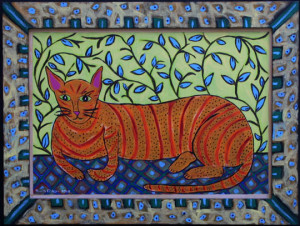 """Resting House Cat"" by Sarah Rakesacrylic on wood panel & frame 17.5"" x 23.5"" 	artist's frame 	$540  (10820 	)"