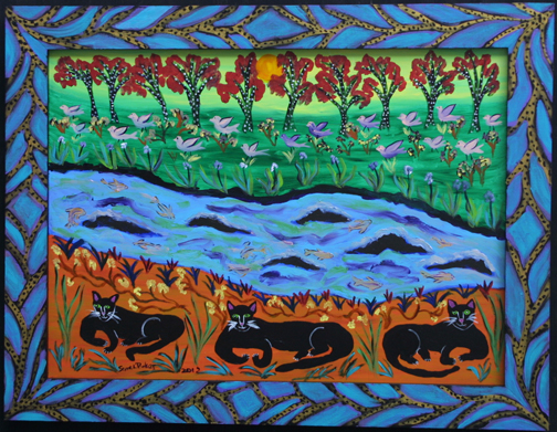 """Both Sides of the River"" by Sarah Rakes	acrylic on wood panel & frame 	20"" x 25.75"" 	artist's painted frame 	$695 (10874)"