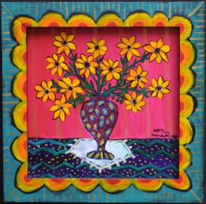 """The Best of Spring"" by Sarah Rakesacrylic on wood panel & frame 9.5"" x 9.5"" artist's frame $230  (10878)"