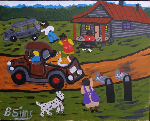 """""""Neighbors"""" c. 1996 by Bernice Simsacrylic on canvas 16"""" x 20"""" black frame $800  (11358)"""