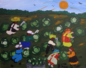 """In the Cabbage Patch"" c. 1997 by Bernice Sims acrylic on canvas 16"" x 20"" black frame 	$800 (11359)"