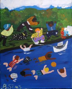 """Swimming Hole"" c. 1997 by Bernice Simsacrylic on canvas 16"" x 20"" black frame $800  (11360)"