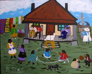 """""""Big Daddy's House at Hickory Hill"""" c. 1996 by Bernice Simsacrylic on canvas 24"""" x 30"""" black frame $1500 (11363)"""