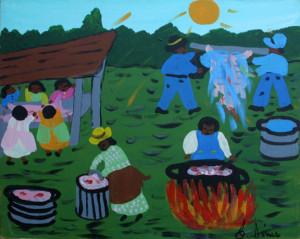 """Hog Killing Time""  by Bernice Simsacrylic on canvas 16"" x 20"" black frame $800 (11373)"