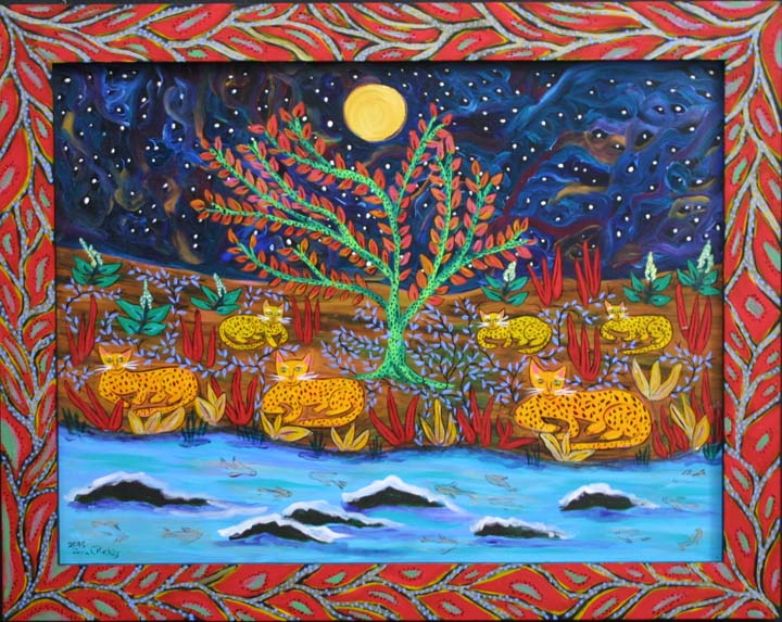 """Family Night at the River"" by Sarah Rakes  acrylic on wood panel and wood frame"