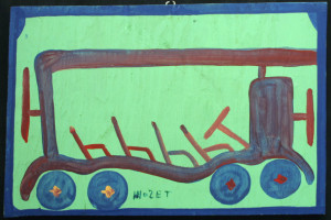 """Freedom Bus"" c.1989 by Mose Tolliver  house paint on wood    14.5"" x 21.5""   $2400  11537"