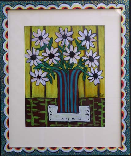 """Wild Daisy on a Tabletop""  by Sarah Rakes in artist's frame dated 2005 	acrylic on paper and wood 	18.5"" x 22"" 	artist's frame 	$490   (8268)"