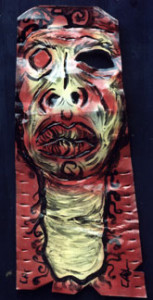 """""""Sarah"""" by Calvin Livingston paint on tin cut out aprox 32"""" x 9"""" $250 #00036"""
