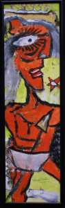 """""""Man with Spear"""" dated 1989, acrylic & collage on paperboard, 20"""" x 6"""", black shadowbox frame, $650 (10040)"""