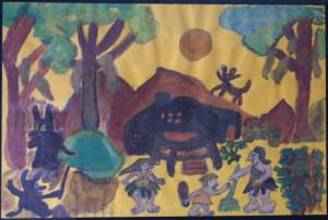 "detail ""The Flintstones"" c. 1984 by Juanita Rogers watercolor on colored paper 12.5"" x 19"" black mat & frame $1000 #10043"