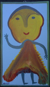 """Dancing Lady"" c. 1977 by Mose Tolliver  oil paint on wood  24.75"" x 14 3/8""  $2600  ON SALE  #10172"