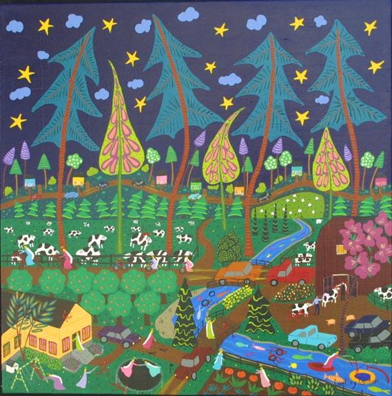 """Under a Starlit Sky"" by Dorethey Gorham acrylic on wrapped canvas 20"" x 20"" x 1.5"" $700 #10196"