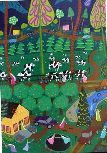 "detail ""Under a Starlit Sky"" by Dorethey Gorham acrylic on wrapped canvas 20"" x 20"" x 1.5"" $700 #10196"