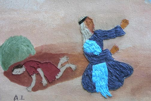 """detail  """"When Hagar Saw the Angel of the Lord"""" (Genesis 21: 1-19)  by Annie Lucas  18"""" x 22"""" in artist's frame  $400  #10213"""