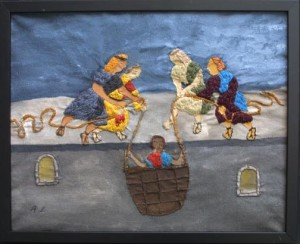 """""""Saul Being Lowered in the Basket"""" (Acts 9:25), acrylic and thread on canvas in artist's frame, 18"""" x 22"""", $700 (10221)"""