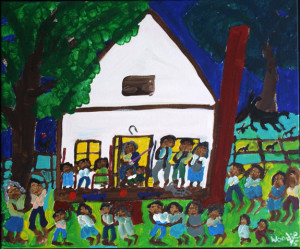 """""""Sunday Night At Grandma's"""" d. 1995 by Woodie Long acrylic on canvas wrap 20"""" x 24"""" x 1.25"""" $1600 #10299"""