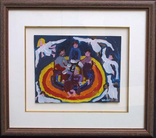 "in frame: ""Angels Watching Dudley's Poker Game""  by Woodie Long  11"" x 14""  in 2"" fruitwood frame gold filet, white mat  Was $900  On sale Now $725 (10313)"