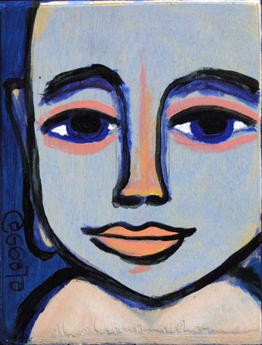 """Buddah"" (with poem on back) by Eric Legge  acrylic on wood 6.5"" x 4.75"" x .75""  unframed  $100  #10323"