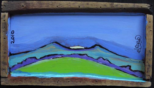 """""""Twlight in the Mountains""""  in artist's frame  by Eric Legge  acrylic on wood  5.5"""" x 10""""  $165  #10325"""