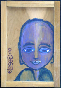 """""""Enlightened One"""" in artist's natural wood frame by Eric Legge 16"""" x 11.25"""" $250 #10326"""