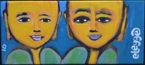 """Golden Buddahs"" dated 2010 acrylic on found wood 4.5"" x 10.25"" in artist's handmade frame $200 #10410"