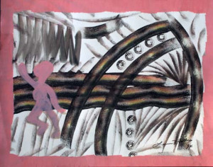 """""""When the Children Are All Flying Free"""" by Lonnie Holley  dated 1994  mixed media on poster paper  22"""" x 28"""" $790 unframed"""