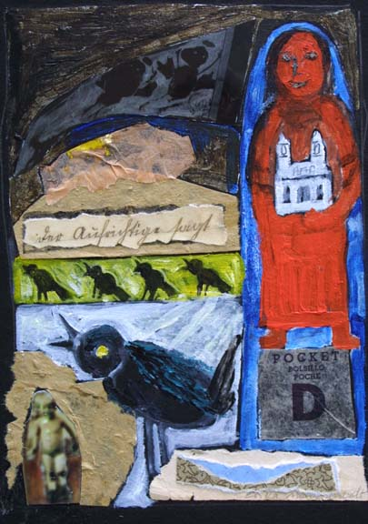 """Five Crows""  2011 by Erika Marquardt  mixed media on cardboard  7"" x 5"" unframed   $225  #10507"