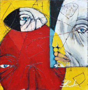 """Red Under"", acrylic & mixed media on wood, 13"" x 12.75"", black shadowbox frame, $350 (10521)"