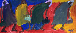 """""""Woman and Purses"""", acrylic on paper, 10.25"""" x 23"""" in archival white mat with black frame, $850 (10557)"""