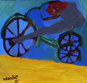 """Biker"", acrylic on paper, 12"" x 12.5"", $725 (10565)"