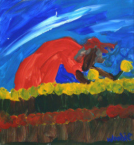 """""""Picking Flowers"""" by Woodie Long acrylic on paper 12.5"""" x 11.5"""" in black frame white mat $475 (10573)"""