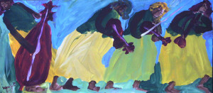 """""""New Orleans Musicians"""", acrylic on paper, 10.25"""" x 23"""", $900 (10574)"""