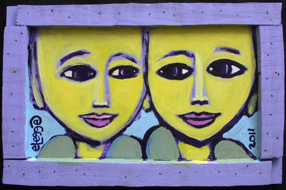 """Buddahs"" by Eric Legge  acrylic on found wood  9.5"" x 14.5"" x 1""  in artist's handmade frame  $200  #10656"