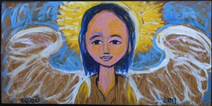 """""""Angel of the Woods"""", acrylic on found wood, 18.25"""" x 37"""" x .75"""" unframed, $600 (10660)"""