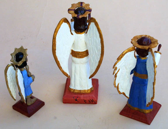 """backs """"Three Angels"""" by Roger Mitchell carved painted wood tallest aprox 10"""" $250 for 3 carvings #10841"""