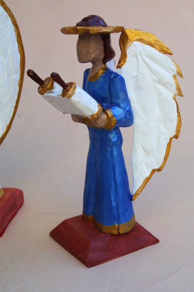 """right angel """"Three Angels"""" by Roger Mitchell carved painted wood tallest aprox 10"""" $250 for 3 #10841"""