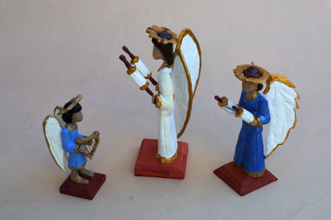 """side """"Three Angels"""" by Roger Mitchell carved painted wood tallest aprox 10"""" $250 for 3 #10841"""