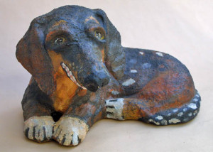 """Sneeker"" by Theresa Disney  acrylic on mixed media material   10"" x 18"" x 8""  $540  #10847"
