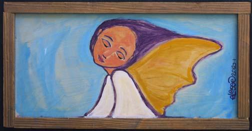 """Fairy Angel"" by Eric Legge  acrylic on found wood  in artist's frame 10.75"" x 21""  $275  #10858"