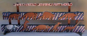 """""""Art World with Elephant and Dinosaurs"""" c.1988 on stand by James Harold Jennings 40.25"""" x 15.5"""" x 5.75"""""""