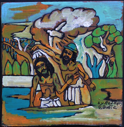 """""""Baptism of Jesus"""" by Rudolph Valentino Bostic  12.5"""" x 12.25""""  oil paint on cardboard  unframed  $350  #10868"""