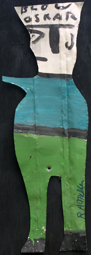 """Blow Oscar""  green pants by R A Miller  paint on metal cut out  aprox. 30"" tall  $300  #10887"