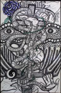 """Strength"" by William ""Sezah"" permanent ink on heavy paper, 36"" x 23.5"" unframed, $500u (10908)"