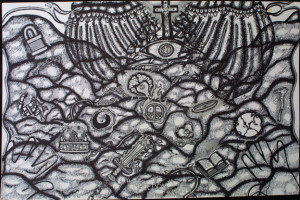 """""""Freedom"""" by William Sezah permanent ink on heavy paper 23.5"""" x 36"""" $1000 unframed #10909"""