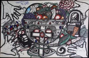"""""""Prosperity"""" by William Sezah permanent ink on heavy paper 23.5"""" x 36"""" $600 unframed #10910"""