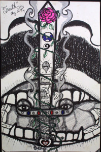 """""""Truth""""byWilliam """"Sezah"""", permanent ink on heavy paper, 36"""" x 23.5"""" unframed, $500u (10911)"""