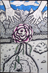 """""""Bloomed"""" byWilliam """"Sezah"""", permanent ink on heavy paper, 36"""" x 23.5"""" unframed, $500 (10913)"""