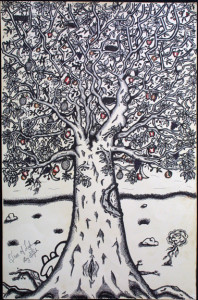 """""""Tree of Life"""" byWilliam """"Sezah"""", permanent ink on heavy paper, 36"""" x 23.5"""" unframed, $750 (10914)"""