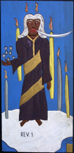 """""""Chapter One-Revelations"""" dated 1987 by Leroy Almon acrylic on carved wood 23.25"""" x 11.25"""" $1500 #10916"""